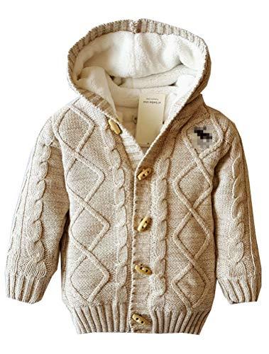 ARAUS Baby Strickjacke Wolle Kapuzenjacke Fleece Gefütterte Winterjacke Warme Cardigan 0-5 Jahre alt -