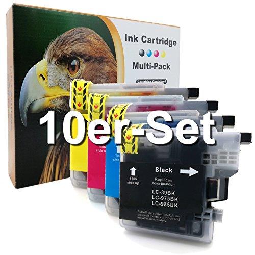 10er-Set D&C Druckerpatronen für Brother LC-985 DCP J125 J140 W J315 W J515 W MFC J220 J265 W J410 J415 W ersetzt LC-985 LC39 LC975 LC-985