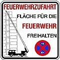 Schild Alu Feuerwehrzufahrt Fläche für die Feuerwehr freihalten Halteverbot 500x500mm (Brandschutzzeichen, parken verboten, Ausfahrt frei halten)