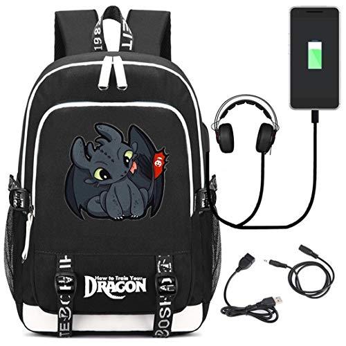 AUGYUESS How to Train Your Dragon - Mochila para Ordenador portátil con Puerto de Carga USB Negro 2