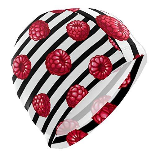 Gebrb Badekappe/Schwimmkappe/Bademütze, Swim Cap Fruit Raspberry with Stripe Swimming Cap for Men Boys Adult Teen Swimming Hat No-Slip