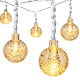30 LED 8 Modes Christmas Light Battery Operated, OakLeaf Waterproof Crystal Ball Globe Fairy Lights String Lighting for Ourdoor / Indoor Garden, Bedroom, Patio, Yard, Home, Xmas Tree, Parties |Warm White