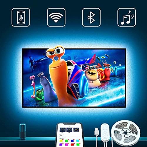 TV hintergrundbeleuchtung, Govee 3m RGB Strip Beleuchtung mit APP für 46-65in TV, 16 Million DIY Farben LED fernseher beleuchtung Kompatibel mit Alexa, Google Assistent, USB und Netzteil Inklusive Diy Tv