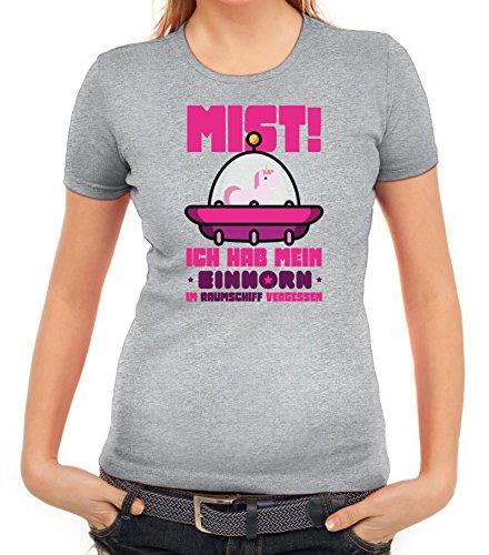 Unicorn Damen T-Shirt mit Einhorn im Raumschiff vergessen von ShirtStreet Graumeliert