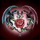 5D-Diamantbild-Satz zum Selbermachen, Drachen und Rose, Strass-Stickerei, Kreuzstich-Kunst, Hobby-Zubehör, Wohnzimmer-, Wanddekoration