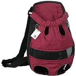 Anself - Mochila para Perros Respirable, Diseño Ergonómico, Color Borgoña
