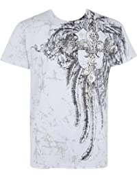 Sakkas Fleur de Lis Cross Metallic Silver Embossed Short Sleeve Crew Neck Cotton Mens Fashion T-Shirt