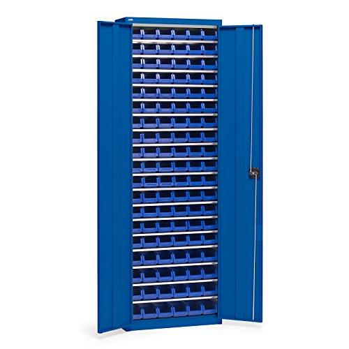 EUROKRAFT Materialschrank aus Stahlblech - Höhe 2000 mm, mit Lagerkästen - enzianblau RAL 5010, 18 Böden - Flügeltürschrank Lagerkästenschrank Lagerschrank Magazinschrank Magazinschrank mit
