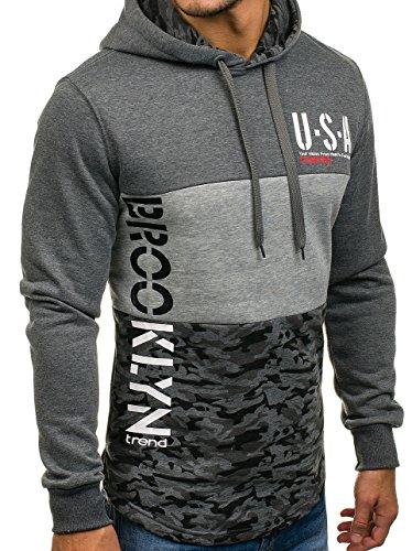 BOLF – Felpa con cappuccio – Sweatshirt – Manica lunga – Pullover – Motivo – Uomo [1A1] Grigio scuro