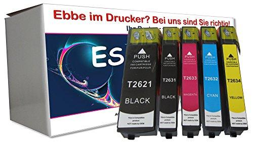 5 Cartuchos XL de Tinta compatibles con Epson Expression Premium XP 510 600 605 610 615 700 710 800 810 1 x Negro 1 x Negro Foto 1 x Cian 1 x Rojo 1 x Amarillo