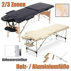 Massageliege Klappbar Tragbar Kosmetikliege Massagetisch Behandlungsliege mit 3 Zonen Höhenverstellbaren Aluminiumfüßen Tragetasche (bis 230kg belastbar) -Beige