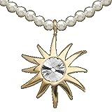 Damen Collier Muschelkern Perlen mit Sonnen-Motiv in Silber 925 vergoldet 42cm
