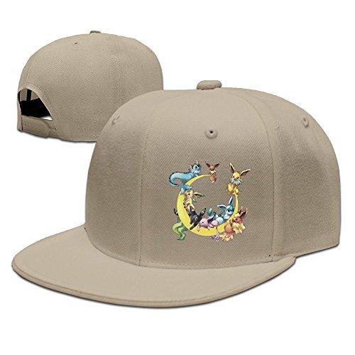 Hittings Cool Unisex Pokemon Eevee Moon Baseball Caps Hip Hop Hat Geek Black Natural