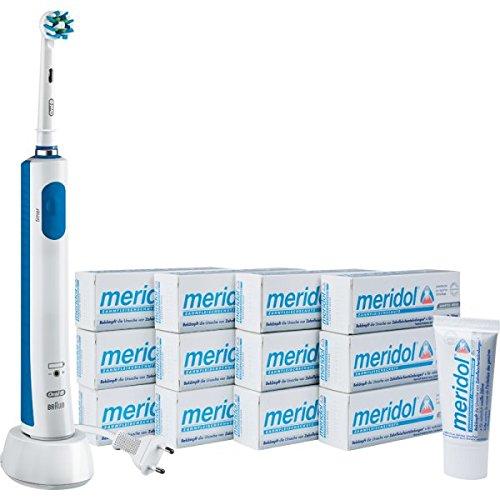 Oral-B PRO 600 CrossAction wiederaufladbare elektrische Zahnbürste + 12 Tuben meridol Sanftes Weiss Zahnpasta (12 x 20 ml)