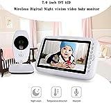 JYSXT Video Baby Monitor, 7.0 Pollici Wireless Smart WiFi Baby Camera 2.4GHz, Visione Notturna, sensore di Temperatura, Audio a 2 Vie, Lunga Distanza