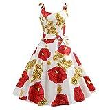 BringBring Damen Vintage 1950er Jahre ärmelloses Country Rock Cocktailkleid Partykleid (M, Red)