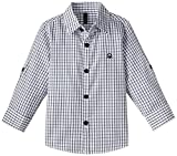 #7: United Colors of Benetton Baby Boys' Shirt (15A5DU65Q200G906_White and Black Check_1Y)