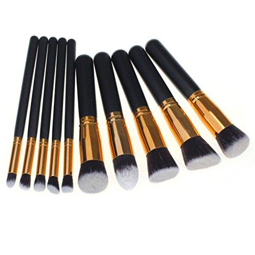 Susenstone 10PCs Brosses Cosmétiques Maquillage Set Fondation Poudre Fard à Paupières, Golden
