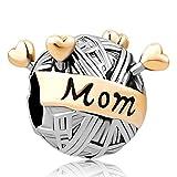 SUG Jasmin Breloque charm en forme de pelote de laine agrémentée de cœurs et de l'inscription Mom