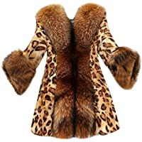 Mujeres Leopardo Sexy Invierno cálido Viento Abrigo Cardigan Leopardo de impresión Larga Capa Luckycat
