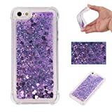 iPhone 5S SE Case, Awesome Glitter Flowing Floating Love Heart Paillettes Quicksand Slim Cover, TAITOU Cool Liquid Moving Clear Ultralight Thin Phone Case for iPhone5S SE Purple