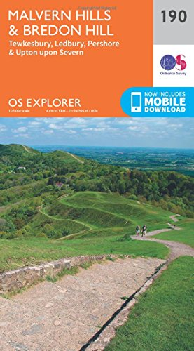 OS Explorer Map (190) Malvern Hills and Bredon Hill