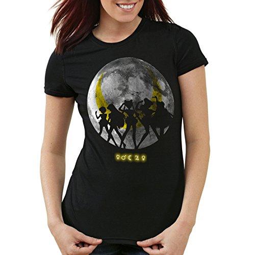 T-Shirt Damen mond mondstein moon luna mars planet anime, Farbe:Schwarz, Größe:2XL ()