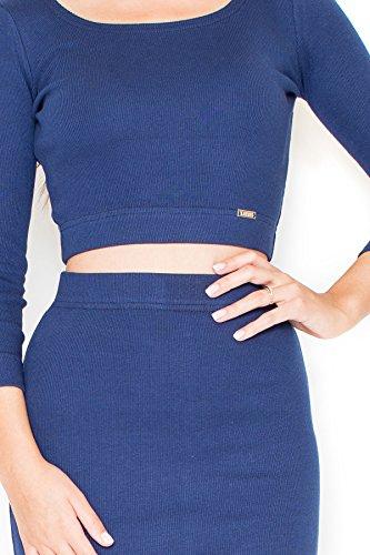 Katrus Crop Top Robe deux pièces longueur genoux Bleu-mer