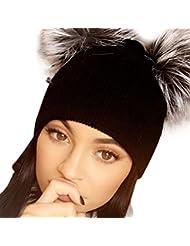 Malloom Las mujeres tejer gorro Hip Hop bola dos sombrero del casquillo del esquí de invierno cálido (Negro)