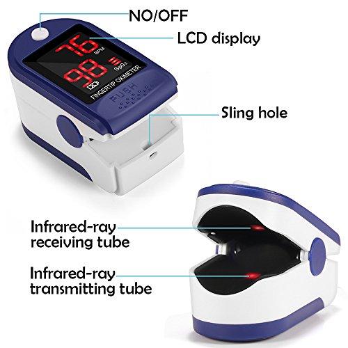 Pulsómetro Digital Oxímetro de Pulse Pulsioxímetro de Dedo con Pantalla LED  Monitor de Frecuencia Cardíaca y Medidor de Oxígeno en Sangre SpO2 para Hogar y Profesional  Adultos y Niños  Uso Deportivo