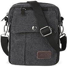 Zicac- Los nuevos bolsos de hombres de la vendimia de la lona multifunción Viajes Satchel / Mensajero bolso pequeño (Negro)