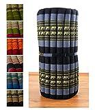 Kapok Rollmatte in 190cm x 75cm x 4,5cm der Marke Asia Wohnstudio; Liegematte bzw. Yogamatte, Thaikissen, Thaimatte als asiatische Rollmatratze (blau / Elefanten)