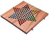Logoplay Holzspiele Halma Gr. L - Stern Halma - Chinese Checkers - Strategiespiel - Gesellschaftsspiel aus Holz mit klappbarem Spielbrett
