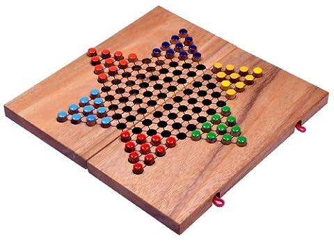 Halma Gr. L - Stern Halma - Chinese Checkers - Strategiespiel - Gesellschaftsspiel aus Holz mit klappbarem Spielbrett