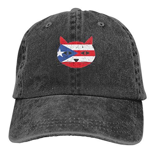 GiveUCap Adult Baseball Caps Hüte Puerto Rico Flag Cat Dad Denim Hats Vintage Baseball Caps Adjustable for Men Women Hut Puerto Rico