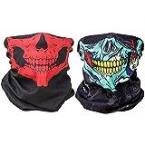 Shinmax 2PCS Multifonctionnel Outdoor Seamless Skull Face Tube Masques, Moto Cyclisme Snowboard Randonnée Headwear Sports Bandeaux Balaclava Bandana (Vert et Rouge)