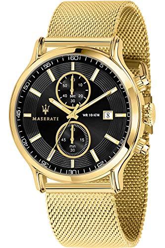 Maserati epoca Montre Homme Analogique Quartz avec Bracelet Acier Inoxydable plaqué Or R8873618007