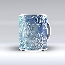 Taza decorada desayuno regalo original diseño estampado mandala azul