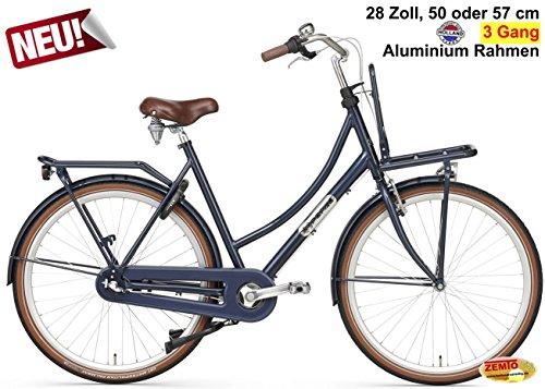 Plezier Damen Hollandrad 3-Gang Daily Dutch Prestige Dunkelblau 50cm