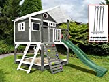Scheffer Outdoor-Toys Stelzenhaus grau mit Kletterwand, Sandkasten Tobi4you. Kinderspielhaus, Sicherheit wählen:4X Bodenanker, Rutsche wählen:moosgrüne Rutsche