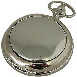 A E Williams Plain mens quartz pocket watch with chain