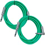 Seismic Audio SAGC10R-Green-2Pack 10-Feet, 2 Pack TS 1/4-Inch to 1/4-Inch Right Angle TS Guitar Cables, Green