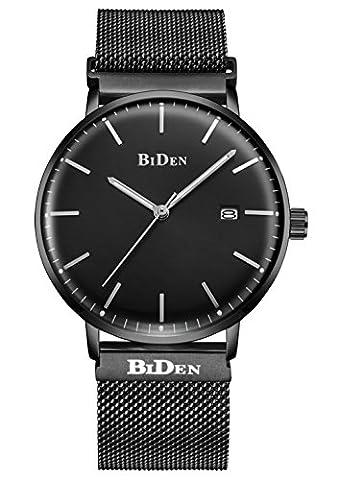 Herren Einfacher Designer Uhren Schwarz Männer Milanese Mesh Strap Luxus Kalender Armbanduhr Edelstahlband 30M Wasserdicht Analog Quartz Geschäft Lässig Uhr Schwarz Dial