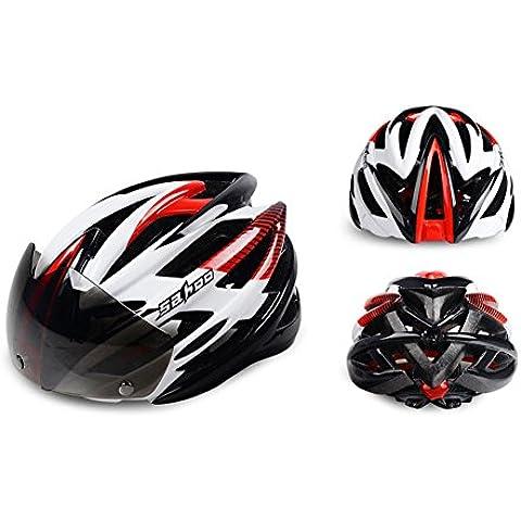 biciAdulti casco da biciclettas con montaggio della visiera removibile occhiali per Miope donne e uomini Protezione Sicurezza Bicicletta Road & Mountain Bettertol (rosso)