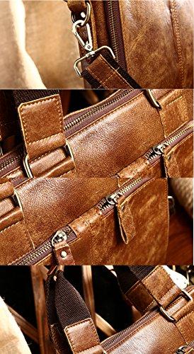0ab2e71005b75 ... Everdoss Herren Vintage Umhängetasche echt Leder Schultertasche Cross  Body Messenger Bag mit Schultergurt Business Hell Braun ...