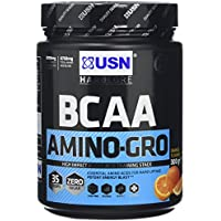 USN BCAA Amino Gro Intra Workout Amino Acid Recovery Drink, Orange, 300 g