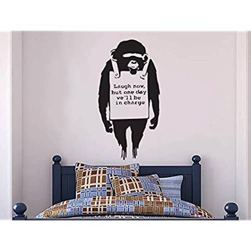 Banksy Wall Decal   Monkey Laugh One Day Now Wall Decal, Banksy Decal    Banksy Vinyl Wall Art Stickers