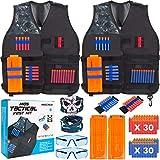 INNOCHEER Taktische Weste 2 Pack für Kinder, Taktische Weste Jacke Kit für Nerf Gun N-Streik Elite-Serie mit 60 er Darts, 2Brille, 2 schnell nachladen Clips, 2Maske und 2Armbände