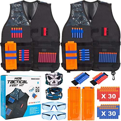 INNOCHEER Taktische Weste 2 Pack für Kinder, Taktische Weste Jacke Kit für Nerf Gun N-Streik Elite-Serie mit 60 er Darts, 2Brille, 2 schnell nachladen Clips, 2Maske und 2Armbände (Nerf Im Streik)