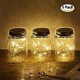 3Pack Mason Jar Licht 20LED, Solar LED Glas Hängeleuchte, Outdoor String Laterne, Dekoration für Zuhause Party Garten Hochzeit
